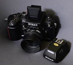 Nikon F4 with DW-20 on top (cnmark) Tags: nikon f4 elmonstro 35mm camera autofocus dw20 waist level finder dp20 lens af 50 mm f18 mb20 mf23 small power pack battery grip multifunction back ©allrightsreserved
