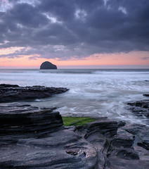 Trebarwith Towards Gullrock.  (In Explore) (b.pedlar) Tags: sunset rocks surf atlantic seascape clouds trebarwith gullrock cornwall