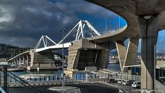 Barcelona, Spain: Pont de la Porta d'Europa (nabobswims) Tags: barcelona bridge catalonia catalunya es españa hdr hafen harbor highdynamicrange lightroom nabob nabobswims photomatix pontdelaportadeuropa portofbarcelona sel18105g sonya6000 spain