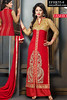 Akshara Red Georgette Palazzo Straight Suit