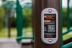 the internet of playthings (slambo_42) Tags: park playground sign post madison railing wi app checkin climbinggym qrcode
