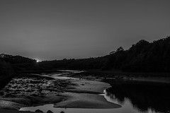 B&W Sunset at the Estuary (sabphoto69) Tags: sunset blackandwhite reflection water canon reflections pembroke evening seascapes peaceful estuary mindfulness pembrokeshire canon400d pembrokewales