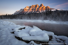 Castle Mountain (David Swindler (ActionPhotoTours.com)) Tags: castlemountain canadianrockies winter castlejunction cold canada fog river bowriver snow