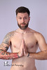 Scott (Levi Smith Photography) Tags: tattoo beard smirk pray shirtless white background portrait studio brunette dude chest hair armpit nude cross hands scott mcglothlen shoulders pecs muscle naked symmetry yoga abs men man mens mans fashion