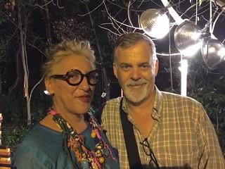 Artist and Gallerist Charo Oquet with Remco Jansonius at the Lost Village exhibit