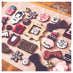 Wes Anderson's Grand Budapest Hotel collection (Daisy Loves Cake) Tags: cookies biscuits decorated icing royal grandbudapesthotel royalicing daisylovescake wesanderson movies keys bowtie snowflake suitcase mendls mendlscakes