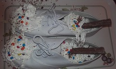 Plimsoll pudding- white DEK lace-ups (eurimcoplimsoll) Tags: plimsolls plimsoles gym shoes gymnastic canvas trainers sneakers dek messy gunge trash pudding desert laceup white custard cream flake