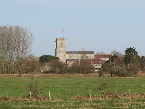 Arne: View of Wareham over the causeway from Stoborough (Dorset)
