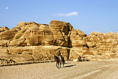 """""""Thoughts of a sun-drenched elsewhere."""" (LilaCheck ) Tags: jordan travel desert petra camels man riders sand rocks mountains sun bluesky moon colorful bedouin tribe jordanis"""