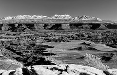 White Rim and La Sals (Scott Sanford) Tags: canon eos naturalbeauty naturallight nature outdoor sunlight canyonlandsnp canyon mountains utah desert 6d ef2470f28l snow blackandwhite bw monochrome landscape camping offroad topazlabs topazclarity winter vacation roadtrip travel trip