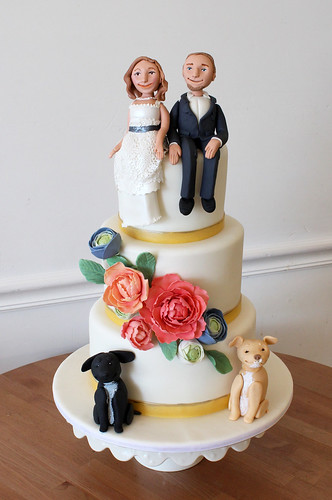 Bride Groom Dogs and Sugar Flowers Wedding Cake