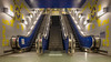 Underground Escalator (Blueocean64) Tags: belgique belgium wallonie hainaut charleroi escalator perspective symmetry interior intérieur architecture light blue yellow panasonic g5 欧洲 旅游 摄影