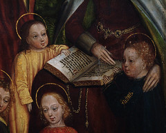 Gent, Oost-Vlaanderen, Museum voor Schone Kunsten, master of the family of St. Anne, family of St. Anne, right panel, detail (groenling) Tags: gent ghent gand vlaanderen oostvlaanderen flanders belgië belgium belgique be museumvoorschonekunsten msk masterofthefamilyofstanne meester family familie saint heilige anne anna drieluik triptych paint painting schilderij symon simon judas book boek