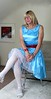Blue and white Polka dot dress (bethany_labelle) Tags: satin prom dress white stockings sandals tgirl transvestite crossdresser