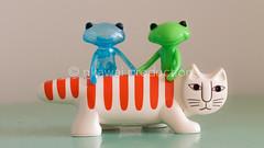 Tiny Lovely Zoo (nkawai) Tags: camera blue green japan cat studio lens wonder toy japanese design wanda sweden designer frog fortune plastic larsson translucid uoo necono