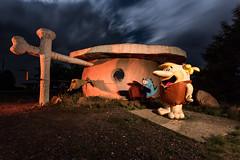 Hey Fred roasted Pterodactyl is ready! (Aztravelgrl (Sandra Jungling)) Tags: longexposure nightphotography arizona usa lightpainting lowlight williams flinstones barnie bedrockcity