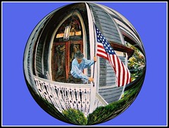 Stars & Stripes Ball - Edited Photo Created From The Photo Of My Oil Painting That Was Painted In The Late 90's. (snc145) Tags: usa man colors photoshop ball design photo doors bright artistic digitalart creative vivid americanflag patriotic porch chandeleer oilpainting bold oldglory starsstripes editedimage paintshoppro6 stevenchateauneuf