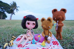 Beryl invited the two suspicious bears to join her in her little picnic........probably not the smartest thing to do!!! Girls, don't you ever do this!!!!!!!! But this turned out well......