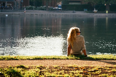 Copenhagen moment (Ana Todor) Tags: sunset summer people woman lake nature water girl beautiful rock lady female copenhagen hair happy person one back women long alone sitting loneliness looking outdoor dream young relaxing lifestyle sunny calm lonely relaxation caucasian