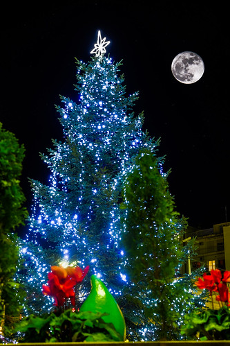 Supermoon over Patras City Christmas Tree