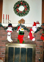 The stockings were hung by the chimney with care.... (Maenette1) Tags: christmas stockings fireplace menominee uppermichigan flicker365 wreath candles