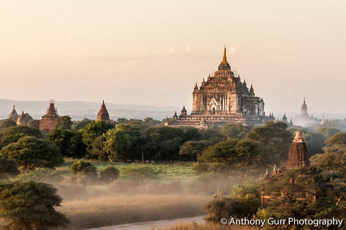 Low Sun and Mist over the Temples of Bagan, Myanmar