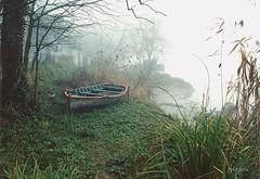 Au Port de Grima (jpidouence) Tags: garonne hiver fleuve roseaux portail brouillard brume barque matin fog