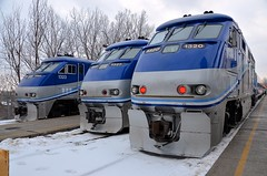 Trio of F59PHI's (Michael Berry Railfan) Tags: amt agencemétropolitainedetransport commutertrain passengertrain train bombardier montreal westmountsub cp canadianpacific lucienlallierstation emd gmd f59phi amt1323 amt1327 amt1320