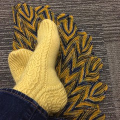 Blue and Gold HKF (bogiebogie) Tags: baroque cables handknitfriday knitty pattern scarf shawl socks wool louet socksthatrock knit knitting