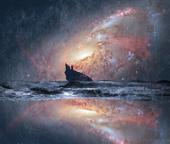 lonely death (color) (petrisalonen) Tags: space death lonely galaxy ship waves sea photoshop photoshopart art