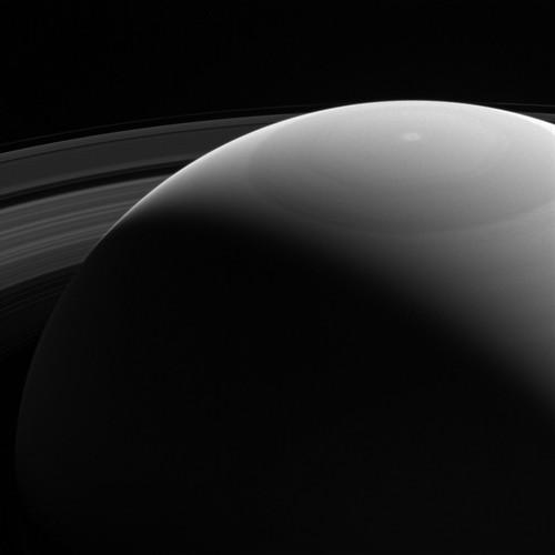 Peeking over Saturn's Shoulder