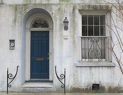 Rainbows End: The last house on Rainbow Row (c.1792): 107 East Bay Street, Charleston, SC (Hunky Punk) Tags: dwwg rainbowrow charleston sc house door doorway window guard iron railing blue step street 107 eastbay southcarolina