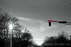 Red Light (Bets<3 Fine Artist ~Picturing Light ~ Blessings ~~) Tags: traffic light sun trees selectivecoloring maine sky clouds modernlandscape