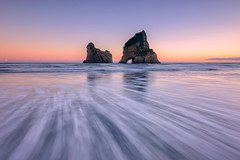 Striated Light, Wharariki (Nick Twyford) Tags: longexposure newzealand seascape sunrise waves nz southisland westcoast wharariki puponga archwayislands leefilters nikond800 lee09nd lee06gndsoft nikkor160350mmf40