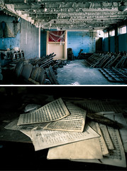 lost.music (jonathancastellino) Tags: music color colour abandoned church mi hall chair diptych ruins notes chairs decay michigan detroit basement ruin forgotten sheet sheetmusic derelict