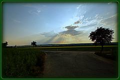 Landschaft - Landscabe (Karabelso) Tags: street trees sky sun nature clouds evening natur himmel wolken sonne baum strase