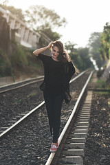 DENIA J. (Roberto Duran | Photo & Art) Tags: railroad portrait girl face female walking eyes pretty afternoon pentax random blonde tamron protraiture pentaxlover byrobertoduran