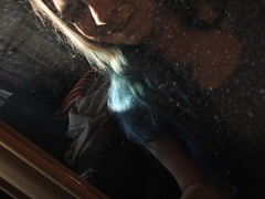 The girl in the mirror (unfurlingyourwings) Tags: blue selfportrait hair mirror dust bluehair
