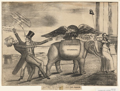(Congressional elephant) or last desperate pull for power (Boston Public Library) Tags: prints andrewjackson elephants eagles presidents politicalcartoons lithographs economicpolicy republicanelephantsymboliccharacter