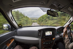 Faster Driver!   216/365 (rmrayner) Tags: road landscape track driving jeep fisheye devon driver 15mm hedges satnav day216 fpv speedblur grandcherokee narrowlane narrowlanes 365project 365outtake vehicleinterior 216365 longexposuredrivingthroughlanes