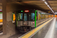 train in the subway in milan (pulp.gae8) Tags: city travel people urban italy motion milan tourism public station architecture modern speed train work way underground subway wagon person design movement downtown technology metro background interior milano transport tube perspective tunnel super run move tourist tourists line business transportation automatic destination opening locomotive passenger passage atm metropolitan means traveler automatization