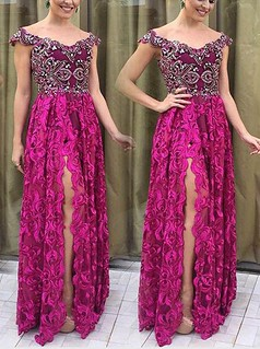 Elegant Off Shoulder Short Sleeves Long Purple Prom Dress with Beading