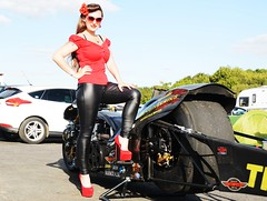 Holly_9798 (Fast an' Bulbous) Tags: top fuel bike motorcycle drag race biker chick babe girl woman dragbike pinup model pose hot hotty sexy long brunette hair high heels stilettos shoes red tight black leather pvc jeans leggings legs sunglasses outdoor people santa pod nikon d7100 gimp