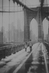 Father and Son (isvibilsky) Tags: bw brooklyn bridge snow