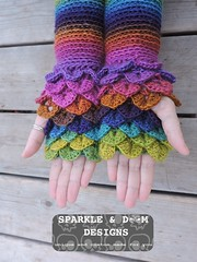 crocodileMitts 02a (zreekee) Tags: crochet sparkledoomdesigns saskatchewan rainbow mitts bonitadesigns