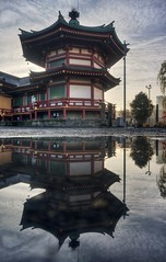 Early morning light at the pagoda (PeterThoeny) Tags: ueno uenopark tokyo japan garden park day cloud cloudy outdoor building architecture temple traditionaljapan traditional hdr 3xp raw nex6 selp1650 photomatix qualityhdr qualityhdrphotography shinobazunoikebentendo buddhist buddhism buddhisttemple 不忍池弁天堂 fav100