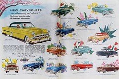 New Chevrolets for 1954.  Ad in Collier's for April 30, 1954 (lhboudreau) Tags: vehicle car drawing illustration automobile auto cars drawings illustrations automobiles autos chevrolets 1954 colliers colliersmagazine magazine magazines ad advertisement chevrolet onefifty twoten belair 2doorsedan 4doorsedan sedan utilitysedan convertible handyman sportcoupe coupe april301954 flowers springflowers hyacinths trilliums crocuses liliesofthevalley primroses tulips shootingstars forgetmenots columbines bluebells violets daffodils phloxes cherryblossoms blooms gm generalmotors