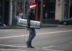 Please share my music! (RaminN) Tags: pedestrian keyboard player crossing holiday hat graffiti portland oregon usa