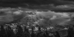 Incoming (writing with light 2422 (Not Pro)) Tags: mountrainier volcano stratovolcano drama awesomeclouds landscape washingtonstate richborder sonya77 blackandwhite bw monochrome