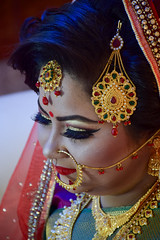 Bride (MashrikFaiyaz) Tags: portrait people bridal bride face wedding festival model ornaments makeup closeup eyes shade nosepin indoor lighting original light dress nikon d5300 january winter season celebration programme